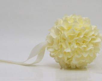 Cream hydrangea kissing ball/pomander ball/flower girl ball/bridesmaid ball wedding party decoration