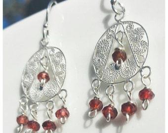 Garnet Filigree Chandalier Sterling Silver Dangle earrings.