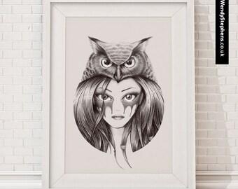 Owl Totem // Illustrated Giclee Art Print // Wendy Stephens