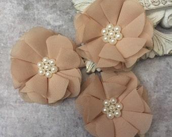Tan flower, chiffon flower, pearl flower, fabric flower, headband flower, supply flower, ballerina flower