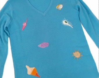 LILLY of CALIFORNIA Vintage Embroidered Seashell Sweater Sz Medium