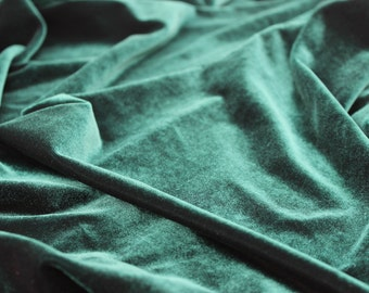 Green Velvet Fabric, Fabric Yardage, Velvet Fabric by the Yard
