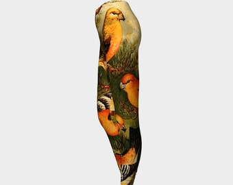 Orange Bird Leggings    Birds Nature Feathers Orange Green Yellow Clothes Wearable Art- Women- Pants -Clothing- Hand Sewn- XS-S-M-L-XL