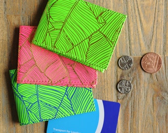 Recycled Leather Palm Print Oyster Card Holder