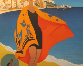 1989 French Vintage Art Deco Travel Poster - Plage de Calvi, Corse by Roger Broders (Reproduction)