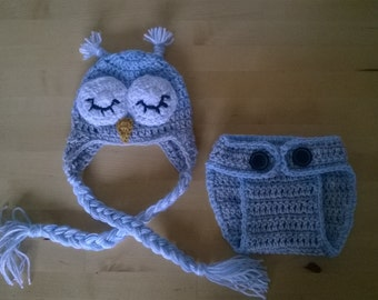 Crochet Sleeping Owl Outfit, Baby boy costume, Sleeping owl set, Baby shower gift, Photo session, Babies Set, Made to order