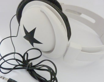 Lightweight and Foldable Stereo Headphones white Stars