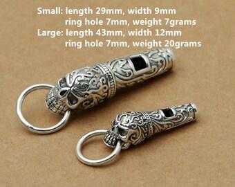 Sterling Silver Skull Whistle Pendant, Sterling Skull Whistle Pendant, 925 Silver Skull Whistle Pendant, Skeleton Whistle, Punk Skull - E435
