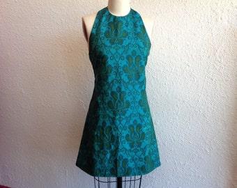 1960s Teal silk halter dress