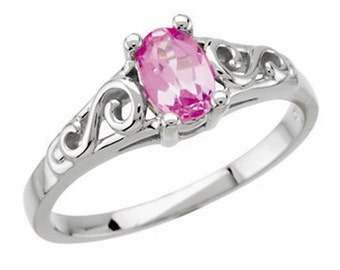 925 Sterling Silver Imitation PINK TOURMALINE Youth October Birthstone Ring USA 5