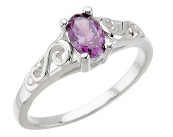 925 Sterling Silver Imitation AMETHYST Youth February Birthstone Ring USA 5
