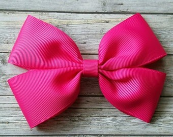 Shocking Pink Hair Bow Clip