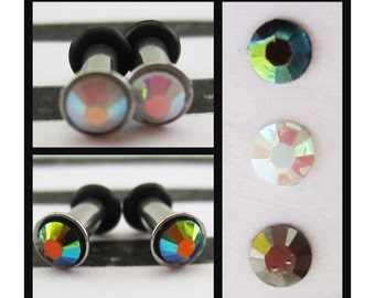 Enchanted Rhinestone on a Stainless Steel EAR TUNNELS plug gauge size - 8g - 3mm, you pick the color of rhinestone