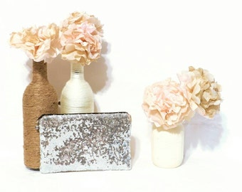 Shiny Silver Sequin Clutch- Custom Bridesmaid Clutch - Bridesmaid Makeup Bag - Bridal Wedding Sequin Clutch - Customized Sequin Clutch Purse