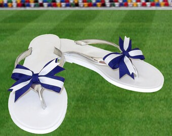 Blue or Navy + White Bow Jelly Sandals