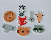 Animal buttons, cute funny animal shape dyed wooden buttons, mixed sizes and shapes, 2 hole buttons, flatbacks, children buttons, 25 Pcs