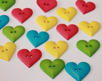 Large heart buttons, 12 assorted color heart buttons, 34 mm buttons, huge heart buttons, 2 hole buttons