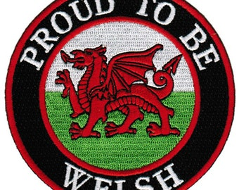PROUD to be WELSH patch embroidered iron-on Wales Flag biker applique Cymru