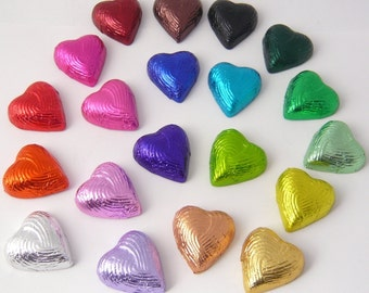 Chocolate Hearts - Handmade Chocolate - Foiled Hearts - Milk, Dark or White Chocolate - Valentines Gift - Wedding Favours, Set of 10