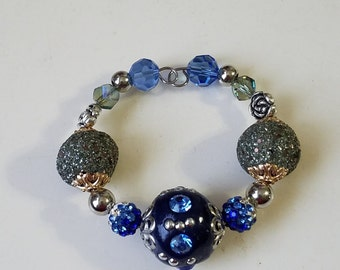 CB06 Navy Blue cuff bracelet with beads & gemstones, adjustable