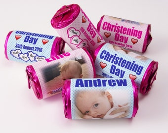 Personalised Love Heart Sweets, Spotty Christening Day, Favours ( Select from 10 to 100 Rolls)