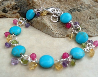 Turquoise Bracelet.Multi Gemstones.Amethyst.Citrine.Peridot.Sterling Silver plated.Bridal.Blue.Beadwork.Mother's.Birthday.Holiday. Handmade.
