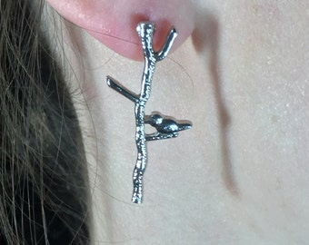 Tiny Bird on Branch Earrings - Silver Toned