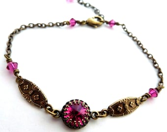 Fuchsia rhinestone link bracelet, single set crystal, antiqued brass decorative links, crystal bead links, Austrian crystal brass jewelry