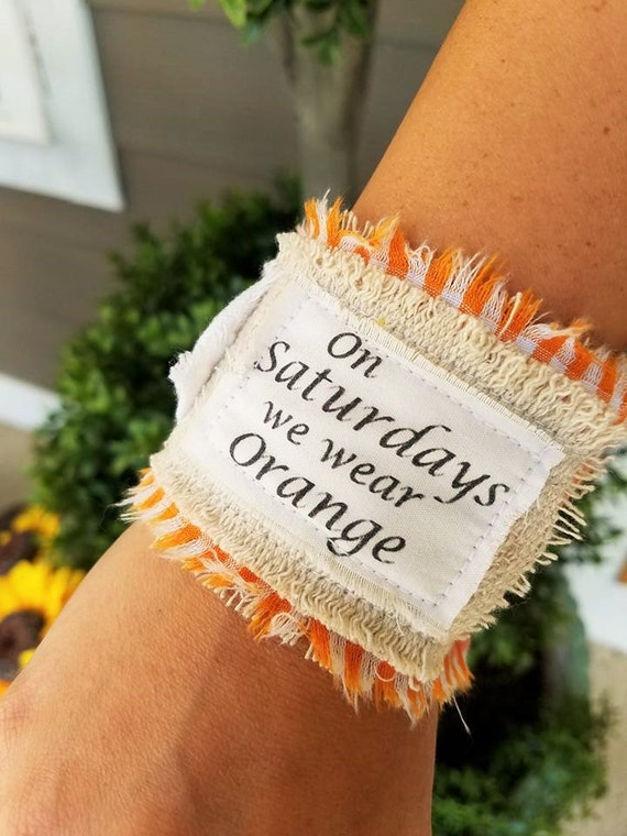 University of Tennessee Fabric Cuff- Tennessee Pride Cuff- Orange and White Cuff