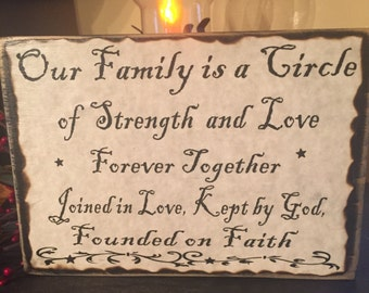 Our family is a circle of strength and love... personalized wood sign