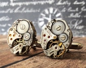 Steampunk Cufflinks, Watch Part Cufflinks, Silver Cufflinks, Steampunk Jewelry, Watch Movements, Silver Watch, Men's Jewelry, Cufflinks