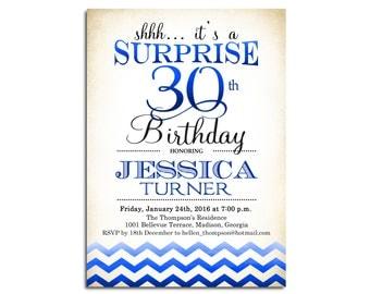 Surprise 30th Birthday Invitation / Any Age / Royal Blue White Invite / Ombre / Chevron / Digital Printable Invitation