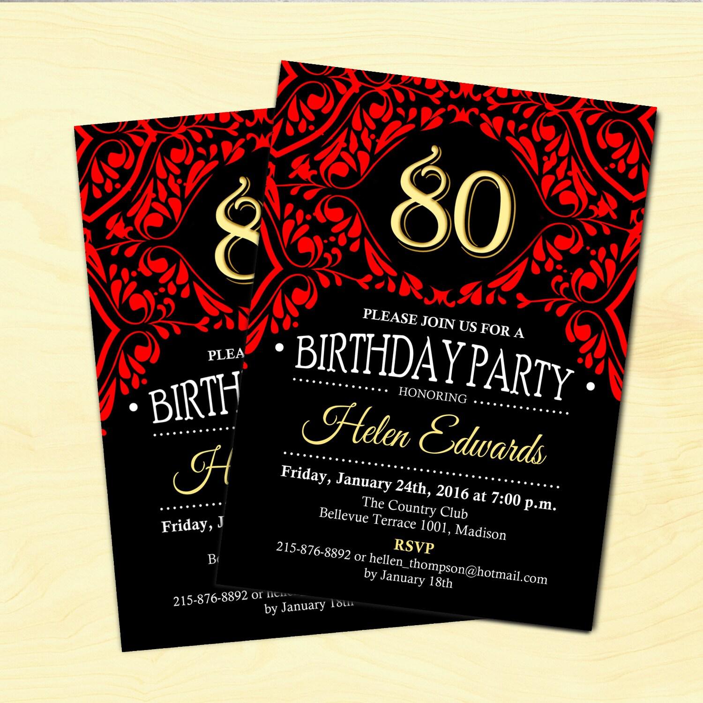 80th Birthday Invitation Wording