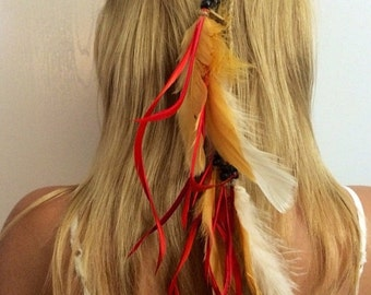 Feather headddress Feather hair comb,feather extension, feather clip, hippie hair, boho headband, boho accessory, extensions long, hair com