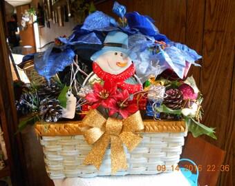 Snowman Flower Arrangement ~ Blue Basket