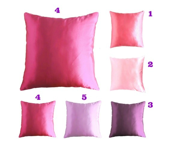 satin throw pillow pink satin pillow purple by AnnushkaHomeDecor