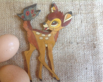 Bambi with Butterfly Small Wooden Wall Hanging Made in Germany
