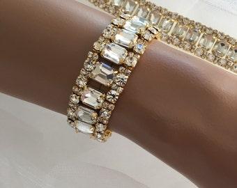 Bridal Statement Bracelet,Rhinestone Bracelet,Bridesmaids Jewelry, Vintage Inspired Bridal Bracelet, Evening Bracelet, crystal bracelet
