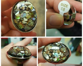 HALF PRICE - Abalone, Mother of Pearl Shell Electroplated Silver Look Statement Ring