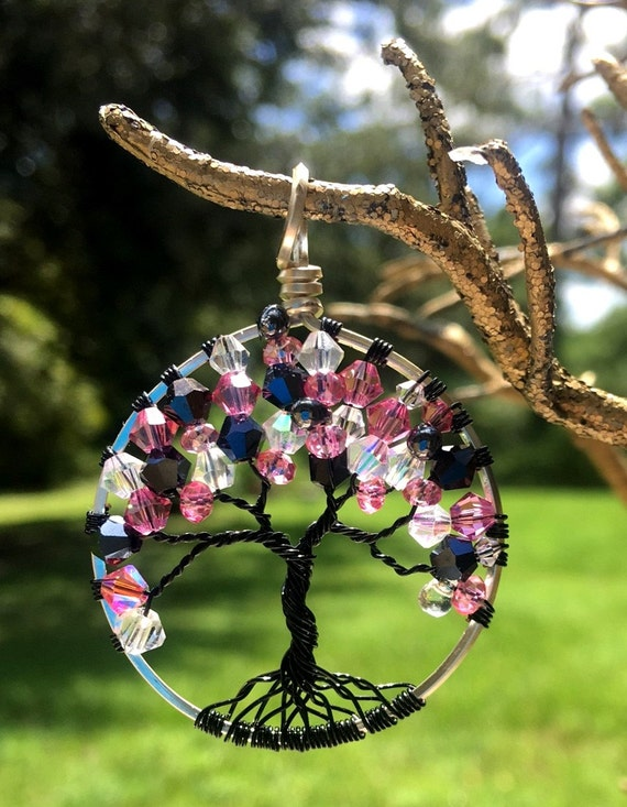 Breast cancer awareness tree of life pendant by for Breastmilk jewelry tree of life