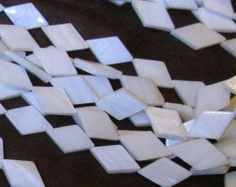 One White Mother of Pearl/ MOP 14 Inch Strand- 10mm x 14mm Flat Diamond/ Rhombus Shape