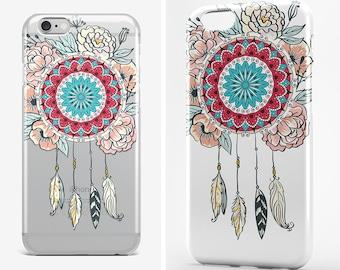 Dreamcatcher iPhone 8 Case iPhone X Case Feather iPhone 7 Plus Transparent iPhone 6 Case Clear iPhone 7 iPhone SE Mandala iPhone 5 Galaxy S8