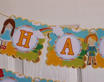 Wizard of Oz  Birthday Banner, Wizard of Oz Banner, Personalized Wizard of Oz Banner, Oz Banner,wizard of oz decorations