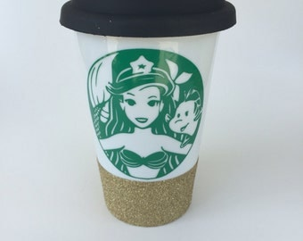 Little Mermaid Cup, Little Mermaid To Go, Little Mermaid Tumbler, Little Mermiad Gifts, Mermaid Gifts, Gifts For Her, Ceramic Travel Mug