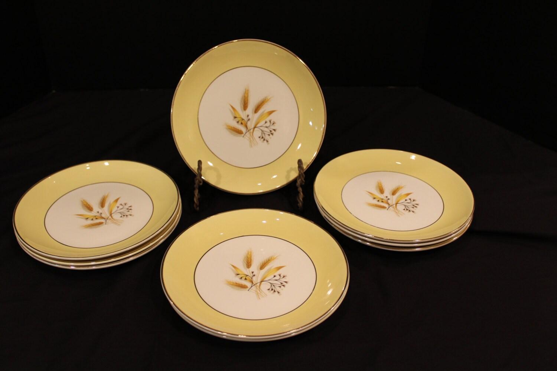 SALE 9 Vintage China Autumn Gold Dinnerware Century Service