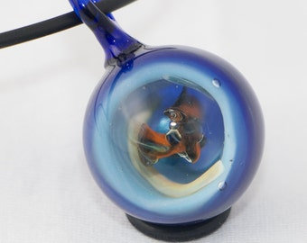 Vortex marble pendant, lampwork necklace