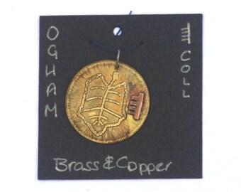 Celtic Ogham Pendant - Coll (Hazel) - Hazel leaf pendant. Druid pendant. Celtic script. Nature necklace. Pagan necklace. Celtic charm