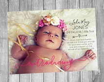 Personalised Birth Announcement Card, Digital File, DIY Printable, Girl Announcement, Boy Announcement