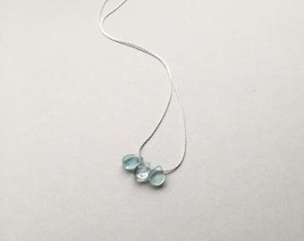 "Triple Aquamarine Droplets, March Birthstone, Modern Minimalist, 18"" Sterling Silver, Dainty Aqua Gemstones, Everyday Jewelry, Gifts for Her"
