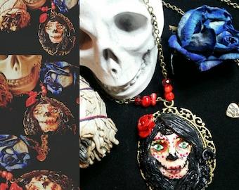 Santa Muerte cameo necklace.